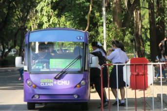 Environmentally-friendly electric campus bus in Chiang Mai University.
