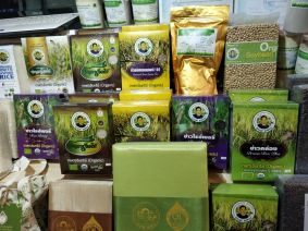 Organic Farm Products such as Rice and Soyabean displayed inside the Farmers' Market in Bangkok