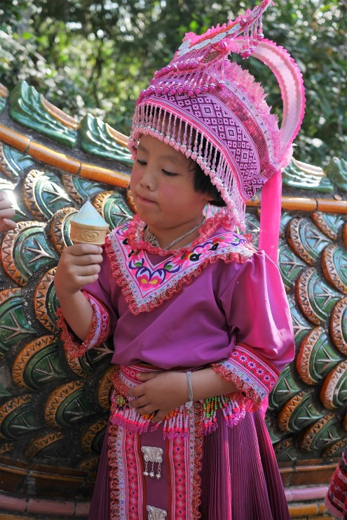 Hill Tribe Girl in Ethnic Costume
