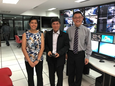 Project team's visit to the city's Traffic Control Center. From left to right: Tan Lu Hsia, Mr. Paisarn Surathamvit (Mayor's assistant) and Xu Kuang